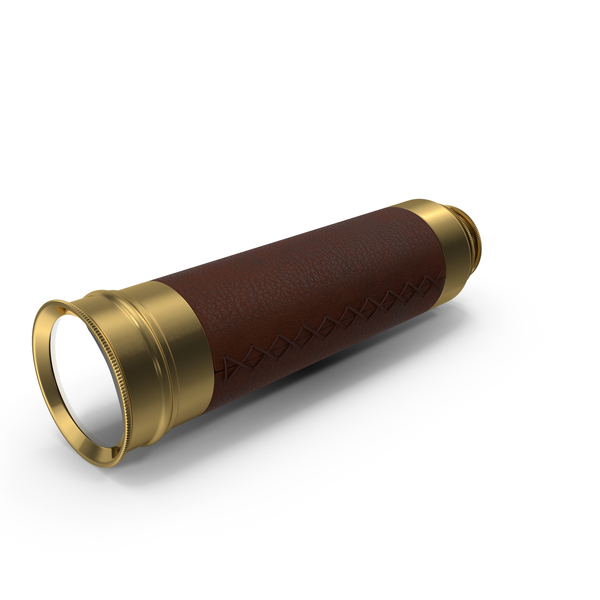 Wrapped Brass Spyglass Telescope Folded PNG & PSD Images
