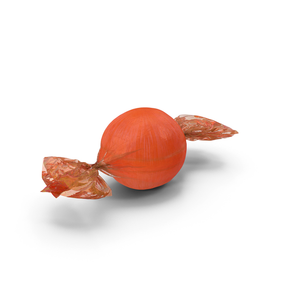Wrapped Orange Spherical Candy PNG & PSD Images