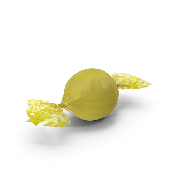 Wrapped Yellow Spherical Candy PNG & PSD Images