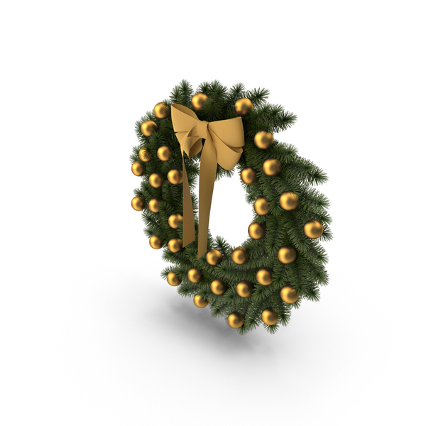Wreath with Golden Bow PNG & PSD Images