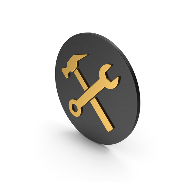Logo: Wrench And Hammer Gold Icon PNG & PSD Images