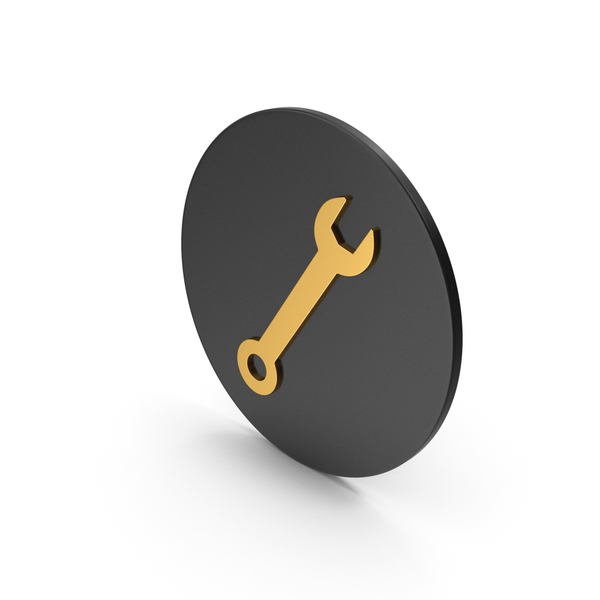 Symbols: Wrench Gold Icon PNG & PSD Images