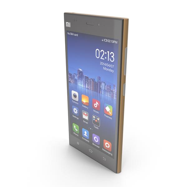 Xiaomi Mi 3 Gold PNG & PSD Images