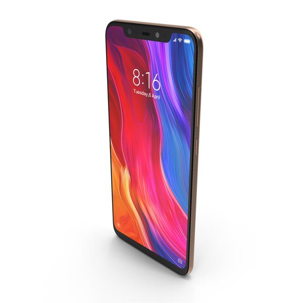 Xiaomi Mi 8 Gold PNG & PSD Images