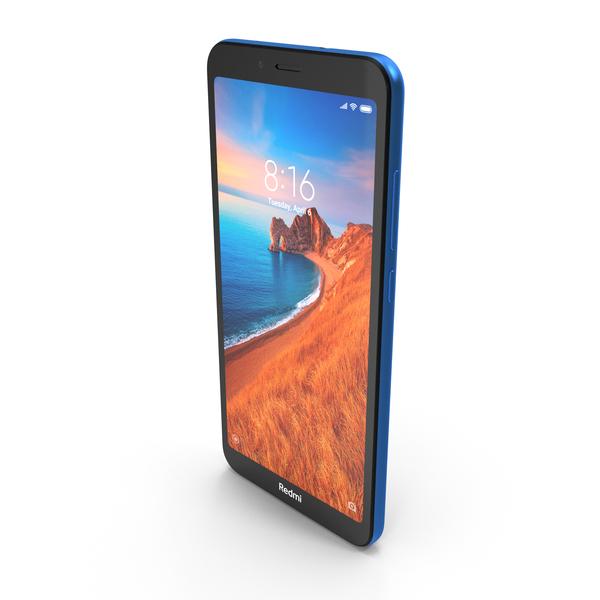 Xiaomi Redmi 7A Matte Blue PNG & PSD Images