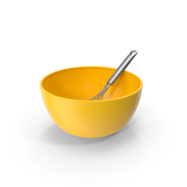 Yellow Bowl and Balloon Whisk PNG & PSD Images