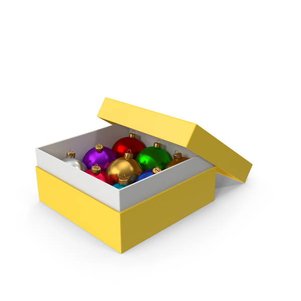 Christmas Ball: Yellow Box With Ornaments PNG & PSD Images