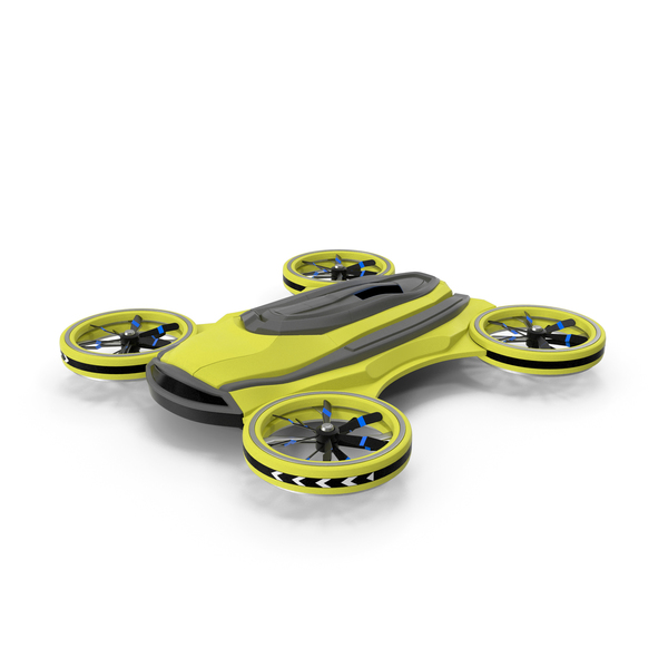 Yellow Cargo Quadrocopter Drone PNG & PSD Images