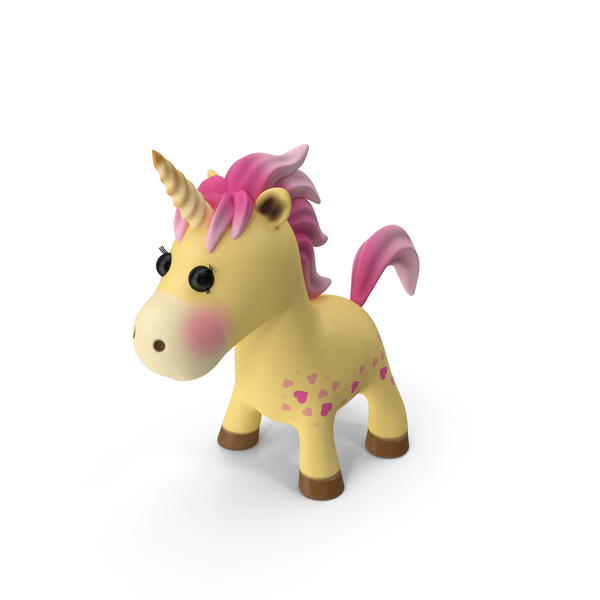 Yellow Cartoon Unicorn Neutral Pose PNG & PSD Images