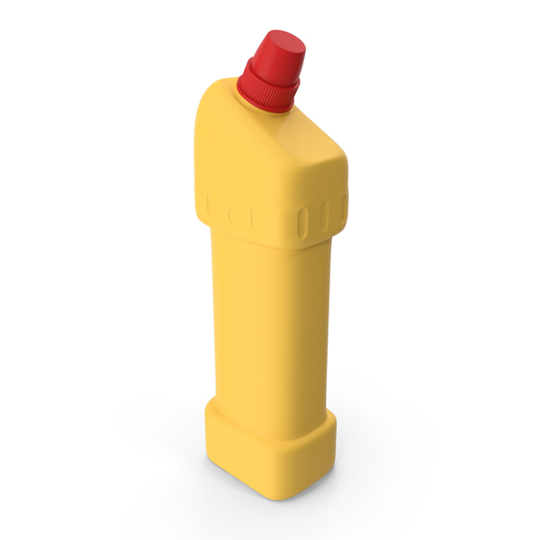 Yellow Cleaning Product Bottle with Red Cap PNG & PSD Images