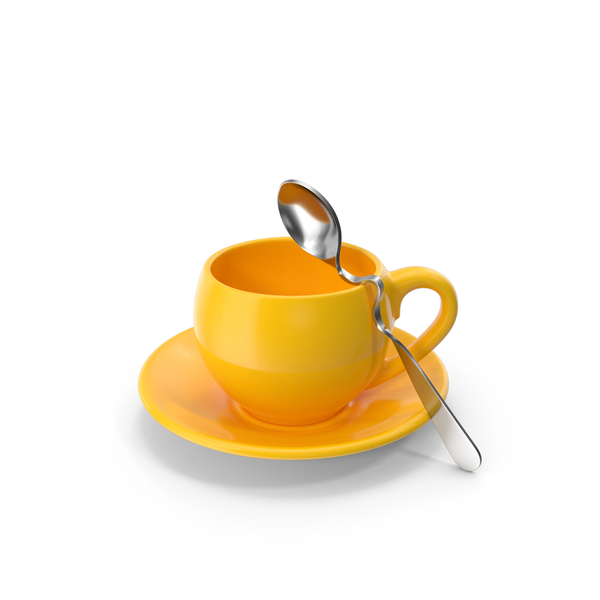 Teacup: Yellow Cup with Spoon PNG & PSD Images