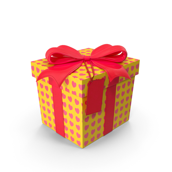 Yellow Gift Box Cube Label PNG & PSD Images