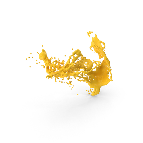 Yellow Liquid Splash Effect PNG & PSD Images