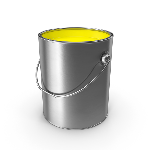 Yellow Metal Paint Can Object