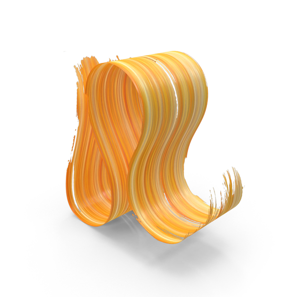 Yellow Orange 3D Paintbrush Stroke PNG & PSD Images