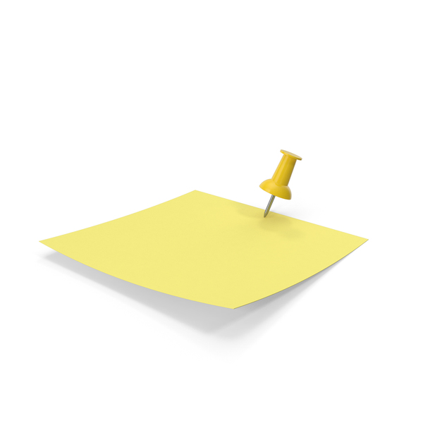 Sticky Note: Yellow Paper with Yellow Pin PNG & PSD Images