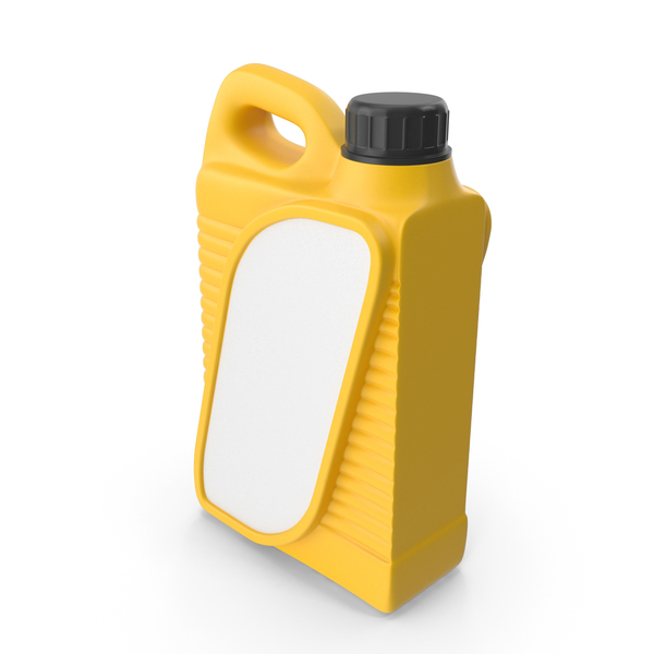 Yellow Plastic Jerrycan with Black Cap and Label PNG & PSD Images