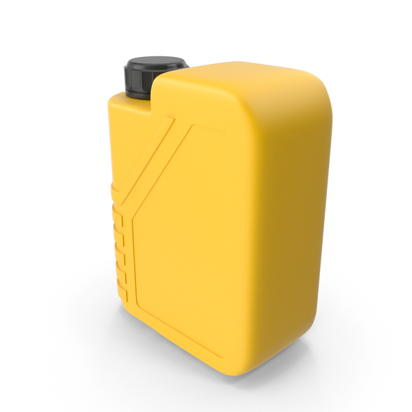 Fuel Can: Yellow Plastic Jerrycan with Black Cap PNG & PSD Images