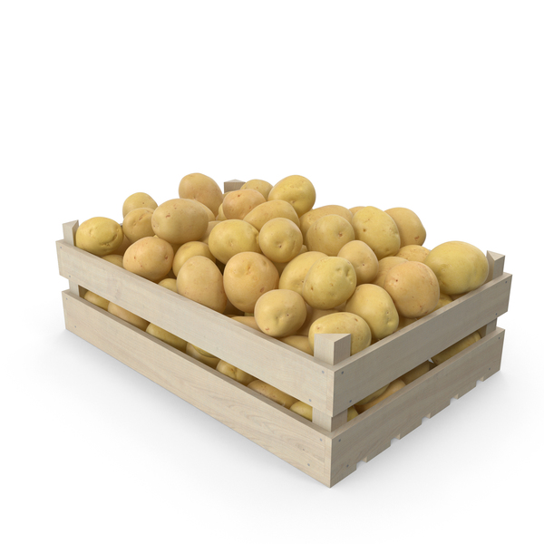 Yellow Potatoes in Wooden Crate PNG & PSD Images