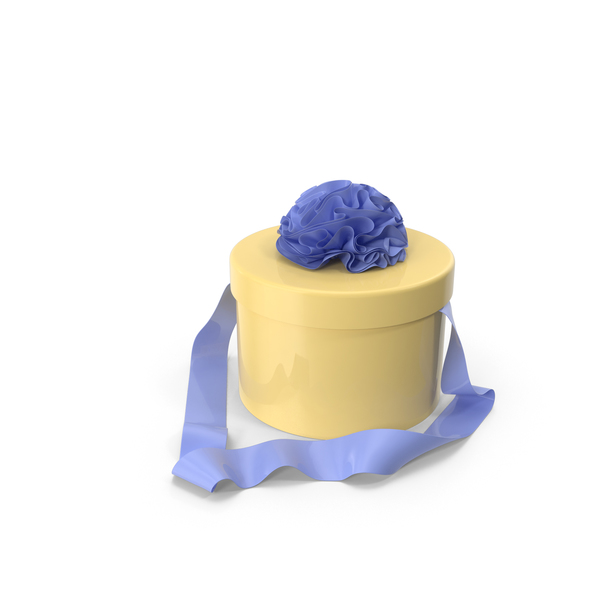 Yellow Round Box with Blue Ribbon PNG & PSD Images