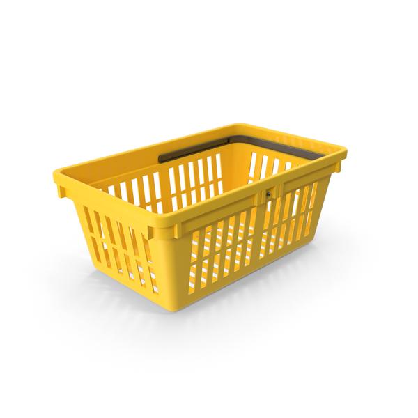 Yellow Shopping Basket Object