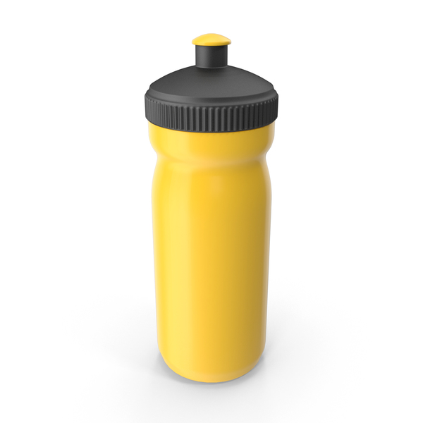 Sports: Yellow Sport Bottle with Black Cap PNG & PSD Images