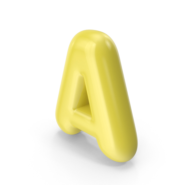 Yellow Toon Balloon Letter A PNG & PSD Images
