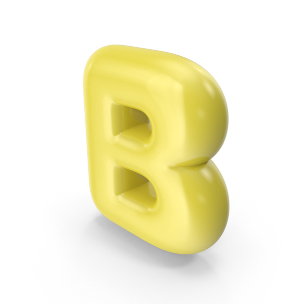 Yellow Toon Balloon Letter B PNG & PSD Images