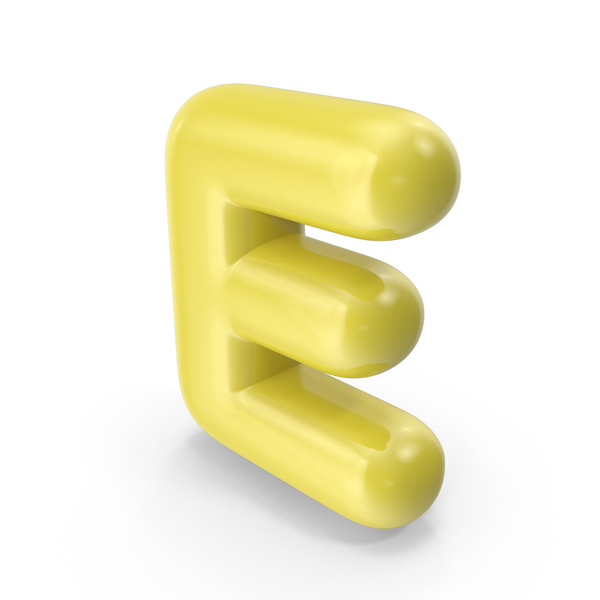 Yellow Toon Balloon Letter E PNG & PSD Images