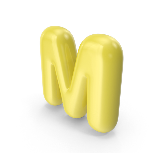 Yellow Toon Balloon Letter M PNG & PSD Images