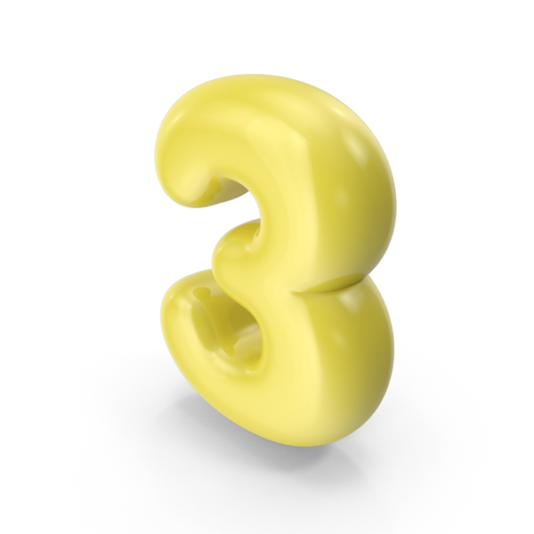 Yellow Toon Balloon Number 3 PNG & PSD Images