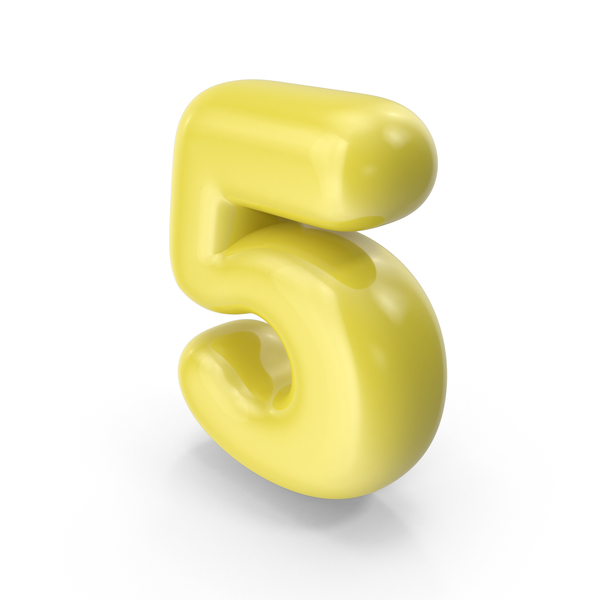 Yellow Toon Balloon Number 5 PNG & PSD Images