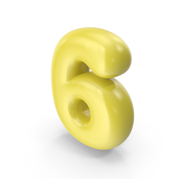 Yellow Toon Balloon Number 6 PNG & PSD Images