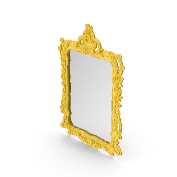 Yellow Wall Baroque Mirror PNG & PSD Images