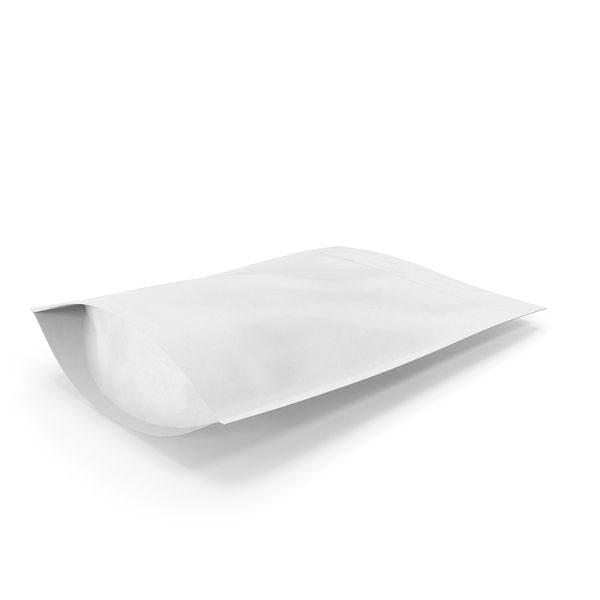 Food Container: Zipper White Paper Bag 300g PNG & PSD Images